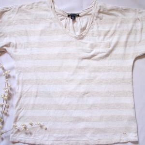Tommy Hilfiger White and Tan Striped Top
